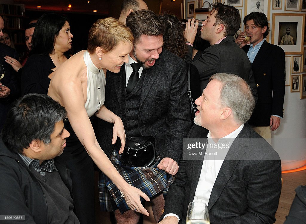 (L to R) Robin Wright, Sean Flanigan and David Fincher attend an after party celebrating the Red Carpet Premiere of the Netflix original series 'House of Cards' at Asia de Cuba, St Martins Lane Hotel, on January 17, 2013 in London, England.