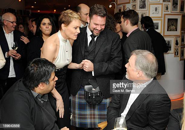 Robin Wright Sean Flanigan and David Fincher attend an after party celebrating the Red Carpet Premiere of the Netflix original series 'House of...