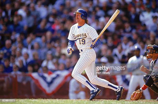 Robin Yount of the Milwaukee Brewers bats during an MLB game at Milwaukee County Stadium in Milkwaukee Wisconsin Yount played for the Milwaukee...