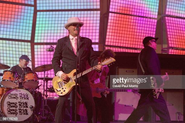 Robin Zander Rick Nielsen Bun E Carlos and Tom Petersson of Cheap Trick perform before Microsoft CEO Steve Ballmer delivers a keynote speech for the...