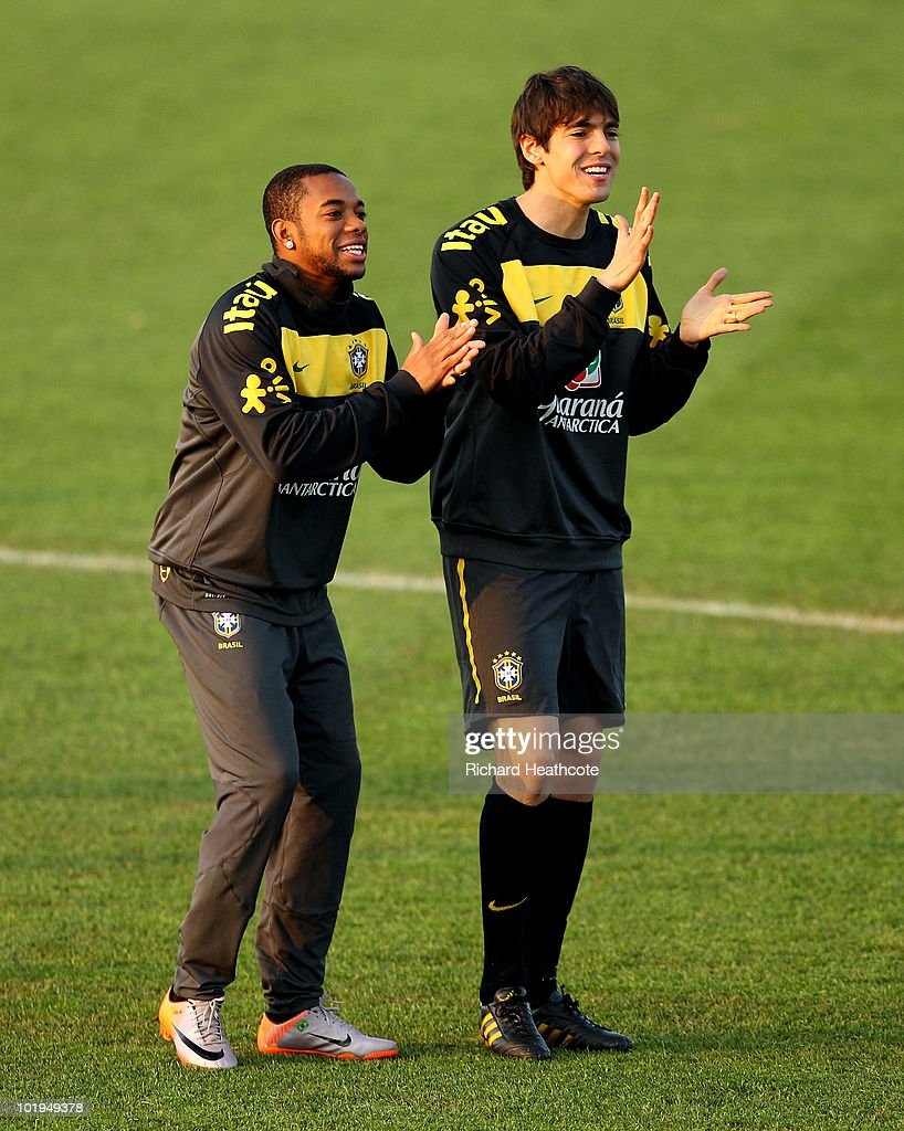 Robinho and Kaka in action during the Brazil team training session at Randburg School on June 10 2010 in Johannesburg South Africa The Brazil...