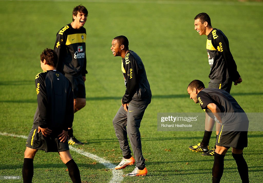 <a gi-track='captionPersonalityLinkClicked' href=/galleries/search?phrase=Robinho&family=editorial&specificpeople=210767 ng-click='$event.stopPropagation()'>Robinho</a> jokes with Kaka, <a gi-track='captionPersonalityLinkClicked' href=/galleries/search?phrase=Lucio&family=editorial&specificpeople=206116 ng-click='$event.stopPropagation()'>Lucio</a> and Daniel Alves action during the Brazil training session at Randburg High School on June 4, 2010 in Johannesburg, South Africa. The Brazil national team are in South Africa to contest the 2010 FIFA World Cup.