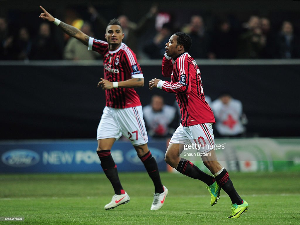 <a gi-track='captionPersonalityLinkClicked' href=/galleries/search?phrase=Robinho&family=editorial&specificpeople=210767 ng-click='$event.stopPropagation()'>Robinho</a> of AC Milan celebrates his second goal with <a gi-track='captionPersonalityLinkClicked' href=/galleries/search?phrase=Kevin-Prince+Boateng&family=editorial&specificpeople=613049 ng-click='$event.stopPropagation()'>Kevin-Prince Boateng</a> of AC Milan during the UEFA Champions League round of 16 first leg match between AC Milan and Arsenal at Stadio Giuseppe Meazza on February 15, 2012 in Milan, Italy.