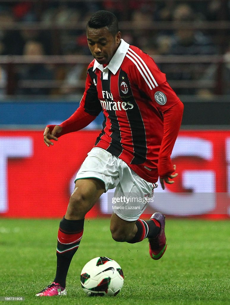 Robinho of AC Milan in action during the Serie A match between AC Milan and SSC Napoli at San Siro Stadium on April 14, 2013 in Milan, Italy.