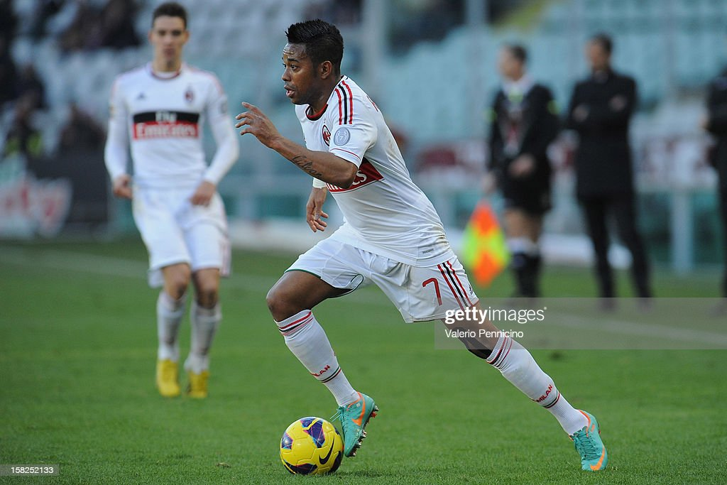 Robinho of AC Milan in action during the Serie A match between Torino FC and AC Milan at Stadio Olimpico di Torino on December 9, 2012 in Turin, Italy.