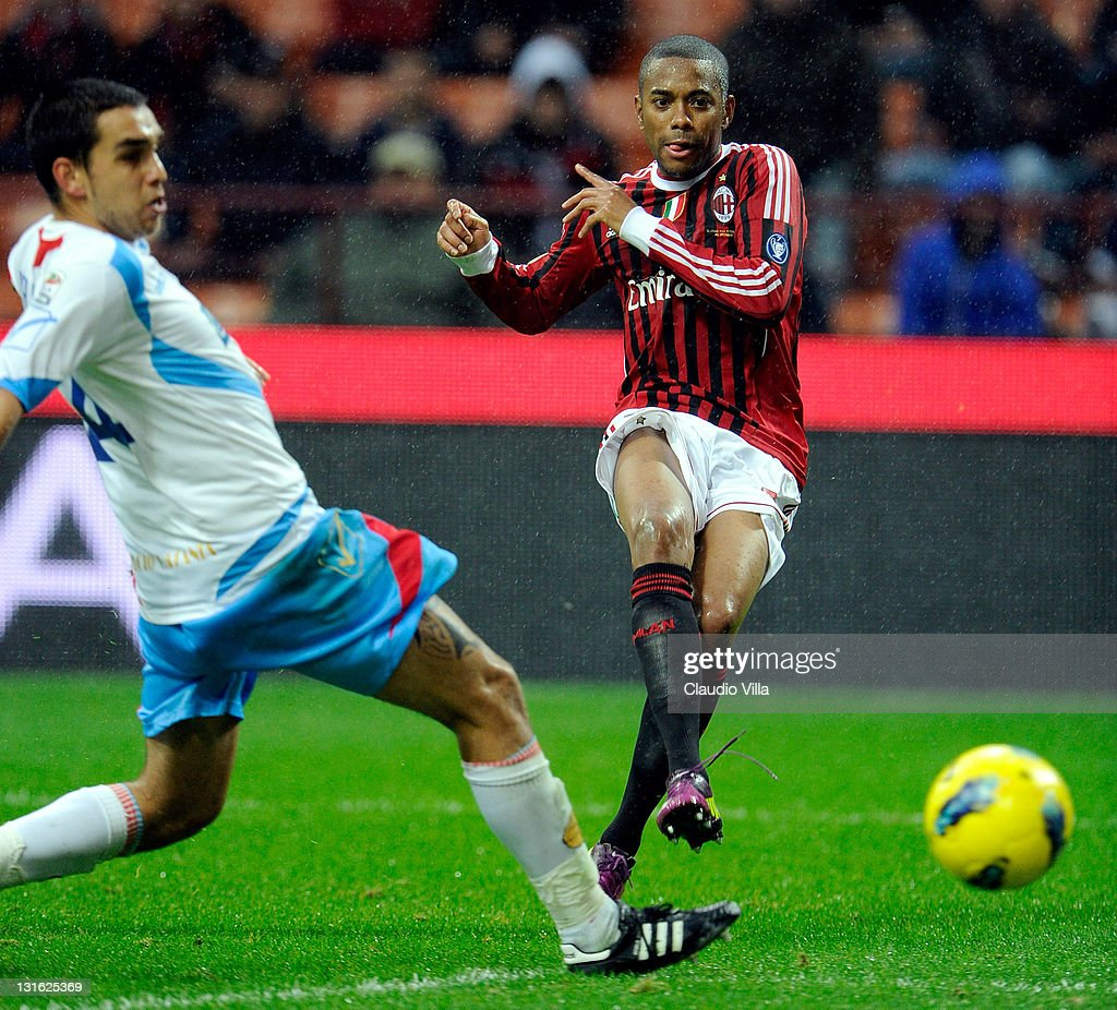Robinho of AC Milan scores the third goal during the Serie A match between AC Milan and Catania Calcio at Stadio Giuseppe Meazza on November 6 2011...