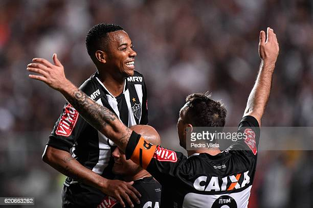 Robinho of Atletico MG celebrates a scored goal against Internacional during a match between Atletico MG and Internacional as part of Copa do Brasil...