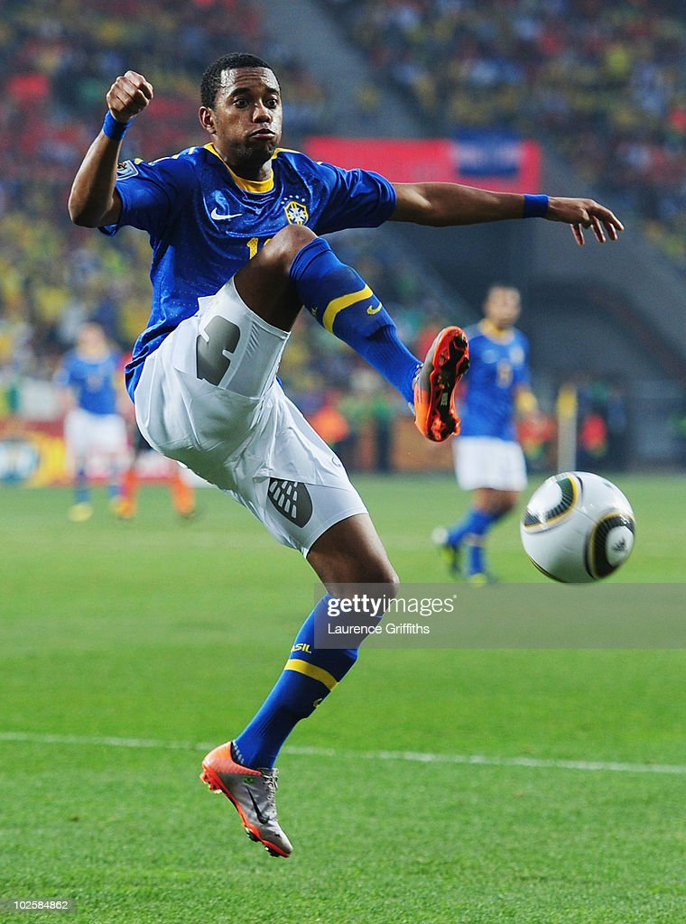 Robinho of Brazil attempts to control the ball during the 2010 FIFA World Cup South Africa Quarter Final match between Netherlands and Brazil at Nelson Mandela Bay Stadium on July 2, 2010 in Nelson Mandela Bay/Port Elizabeth, South Africa.