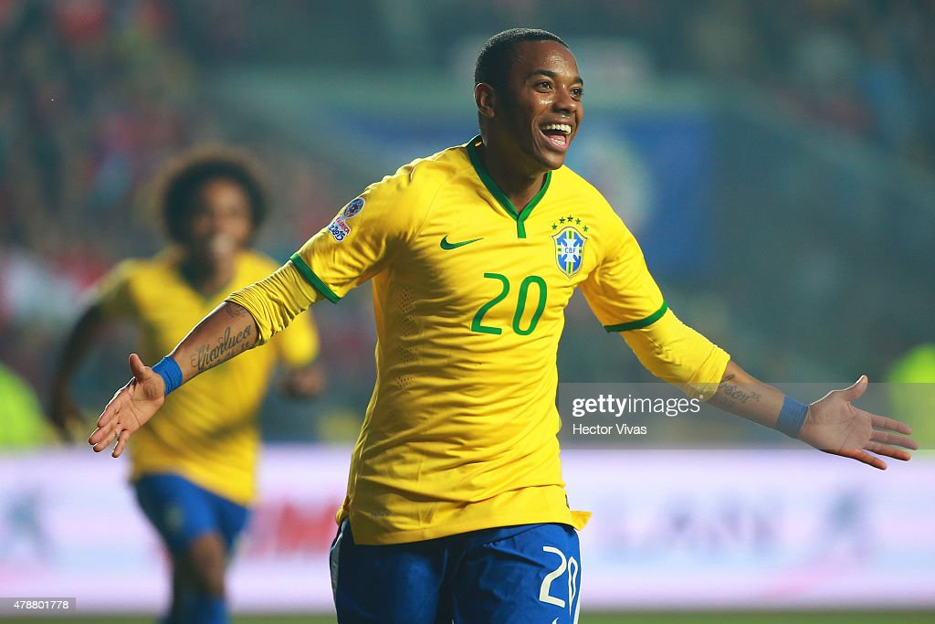<a gi-track='captionPersonalityLinkClicked' href=/galleries/search?phrase=Robinho&family=editorial&specificpeople=210767 ng-click='$event.stopPropagation()'>Robinho</a> of Brazil celebrates after scoring the opening goal during the 2015 Copa America Chile quarter final match between Brazil and Paraguay at Ester Roa Rebolledo Stadium on June 27, 2015 in Concepcion, Chile.