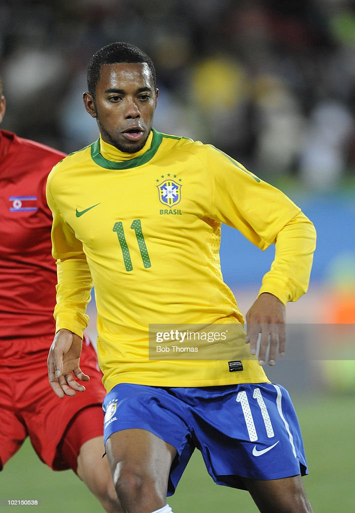 Robinho of Brazil during the 2010 FIFA World Cup South Africa Group G match between Brazil and North Korea at Ellis Park Stadium on June 15, 2010 in Johannesburg, South Africa. Brazil won the match 2-1. (Photo by Bob Thomas/Getty Images).