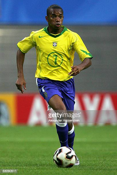 Robinho of Brazil in action during the FIFA Confederations Cup 2005 Match between Brazil and Greece on June 16 2005 in Leipzig Germany