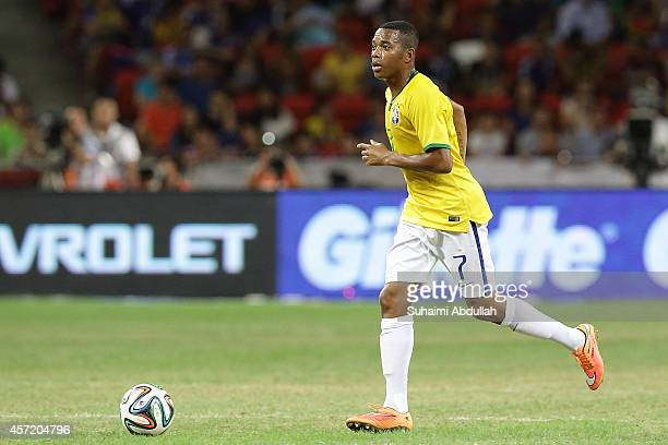 Robinho of Brazil in action during the international friendly match between Japan and Brazil at the National Stadium on October 14 2014 in Singapore