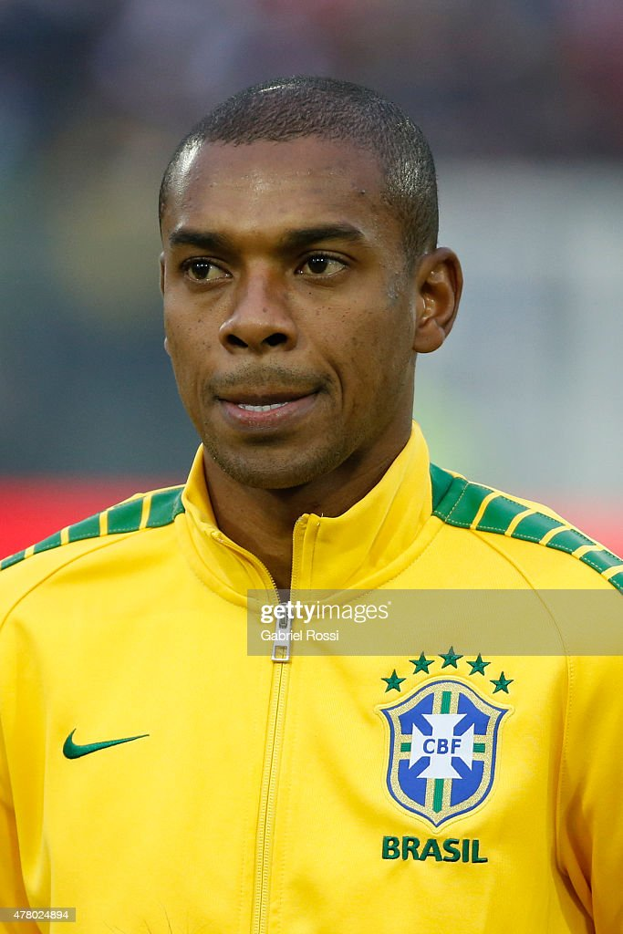 Robinho of Brazil looks on during the national anthem ceremony prior the 2015 Copa America Chile Group C match between Brazil and Venezuela at...