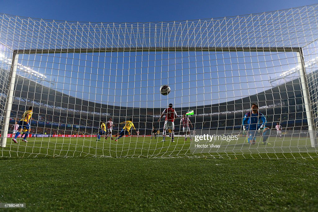 Robinho of Brazil scores the opening goal during the 2015 Copa America Chile quarter final match between Brazil and Paraguay at Ester Roa Rebolledo...
