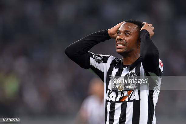 Robinho of Brazil's Atletico Mineiro gestures during their 2017 Copa Libertadores match against Bolivia's Wilstermann held at Mineirao stadium in...