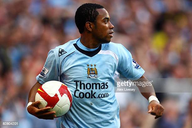 Robinho of Manchester City in action during the Barclays Premier League match between Manchester City and Chelsea at The City of Manchester Stadium...