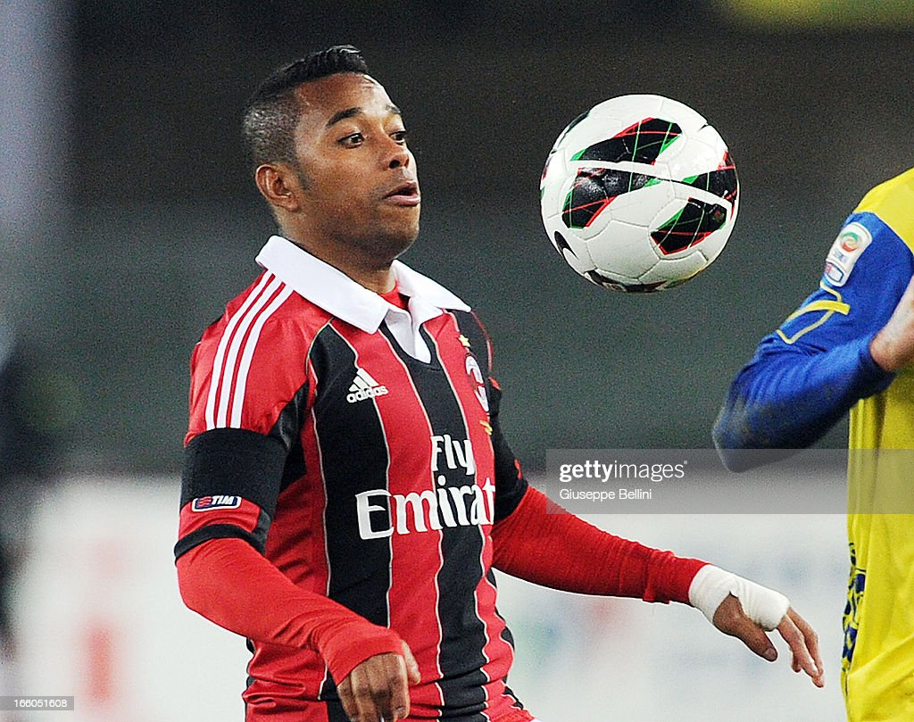 <a gi-track='captionPersonalityLinkClicked' href=/galleries/search?phrase=Robinho&family=editorial&specificpeople=210767 ng-click='$event.stopPropagation()'>Robinho</a> of Milan in action during the Serie A match between AC Chievo Verona and AC Milan at Stadio Marc'Antonio Bentegodi on March 30, 2013 in Verona, Italy.