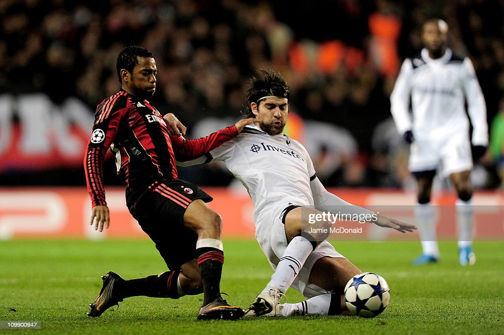 Robinho (L) of Milan vies for the ball with Vedran Corluka of Tottenham during the UEFA Champions League round of 16 second leg match between Tottenham Hotspur and AC Milan at White Hart Lane on March 9, 2011 in London, England.