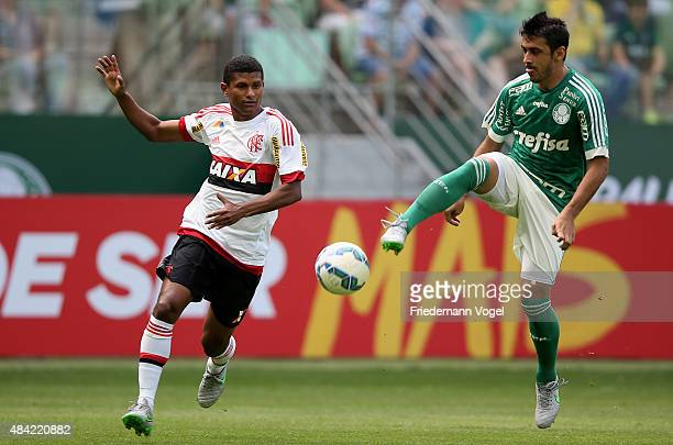 Robinho of Palmeiras fights for the ball with Marcio Araujo of Flamengo during the match between Palmeiras and Flamengo for the Brazilian Series A...