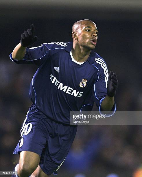 Robinho of Real Madrid celebrates after scoring a goal during a Primera Liga match between Celta Vigo and Real Madrid at the Balaidos stadium on...