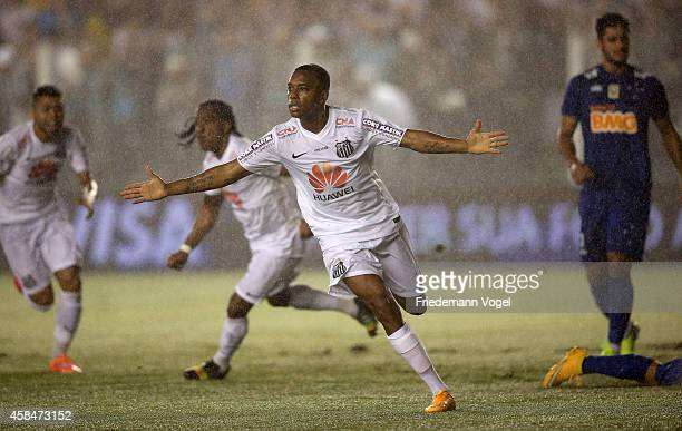 Robinho of Santos celebrates scoring the first goal during the match between Santos and Cruzeiro for Copa do Brasil 2014 at Vila Belmiro Stadium on...