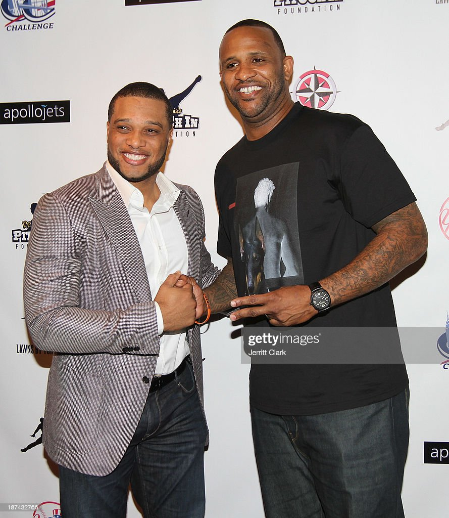 Robinson Cano and C.C. Sabathia attend the PitCCh In Foundation 2013 Challenge Rules Party at Luxe at Lucky Strike Lanes on November 8, 2013 in New York City.