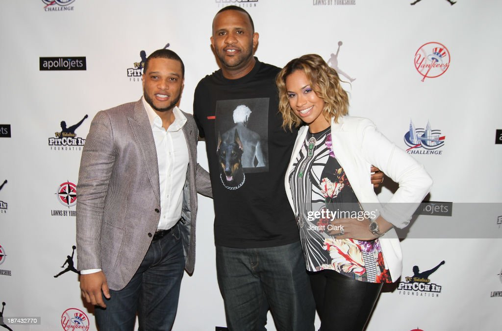 Robinson Cano, C.C. Sabathia and Amber Sabathia attend the PitCCh In Foundation 2013 Challenge Rules Party at Luxe at Lucky Strike Lanes on November 8, 2013 in New York City.