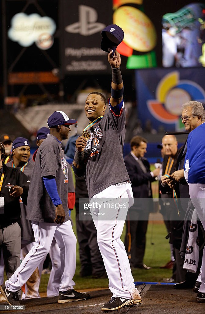 Robinson Cano #24 of Team Dominican Republic after the Dominican Republic beat Puerto Rico in the 2013 World Baseball Classic Championship Game on Tuesday, March 19, 2013 at AT&T Park in San Francisco, California.