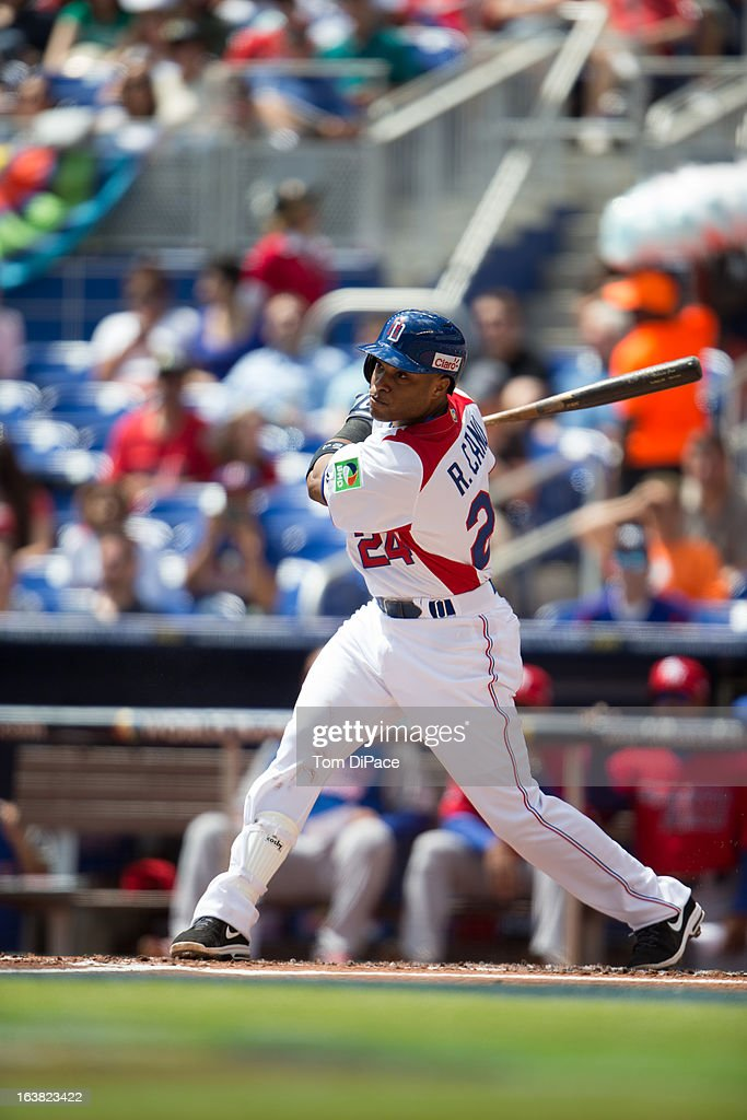 Robinson Cano #24 of Team Dominican Republic bats during Pool 2, Game 6 against Team Puerto Rico in the second round of the 2013 World Baseball Classic on Saturday, March 16, 2013 at Marlins Park in Miami, Florida.