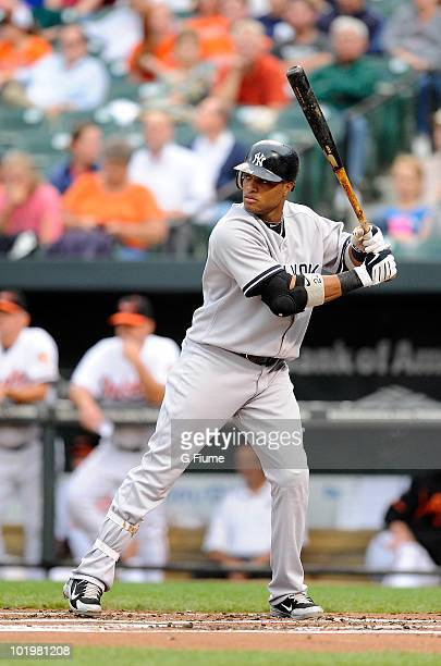 Robinson Cano of the New York Yankees bats against the Baltimore Orioles at Camden Yards on June 9 2010 in Baltimore Maryland