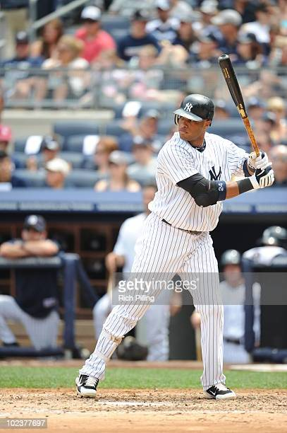 Robinson Cano of the New York Yankees bats during the game against the Houston Astros at Yankee Stadium in the Bronx New York on June 13 2010 The...