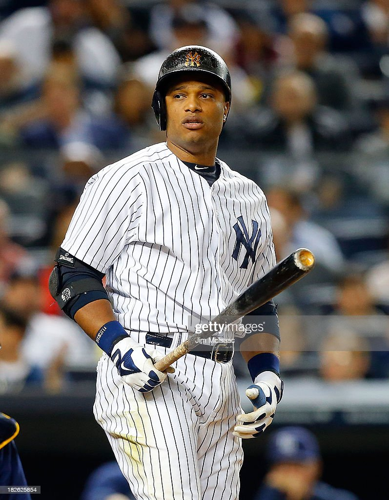 Robinson Cano #24 of the New York Yankees in action against the Tampa Bay Rays at Yankee Stadium on September 26, 2013 in the Bronx borough of New York City. The Rays defeated the Yankees 4-0.