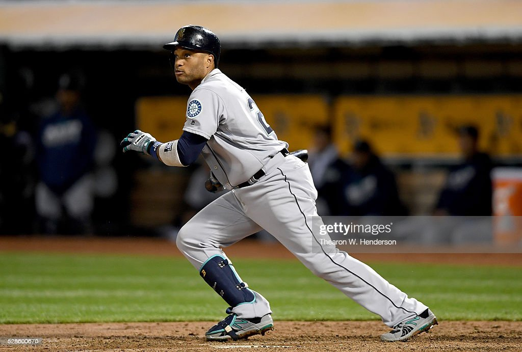 <a gi-track='captionPersonalityLinkClicked' href=/galleries/search?phrase=Robinson+Cano&family=editorial&specificpeople=538362 ng-click='$event.stopPropagation()'>Robinson Cano</a> #22 of the Seattle Mariners bats against the Oakland Athletics in the top of the fifth inning at O.co Coliseum on May 3, 2016 in Oakland, California.
