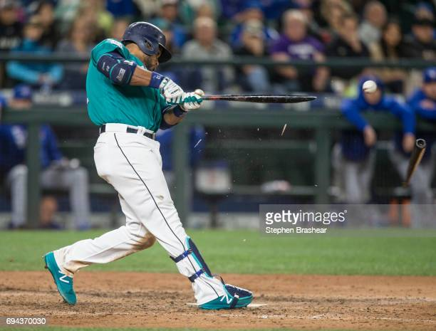 Robinson Cano of the Seattle Mariners breaks his bat as he grounds out during the eighth inning of a game against the Toronto Blue Jays at Safeco...