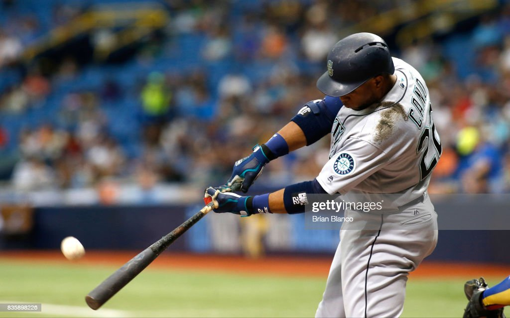 Robinson Cano #22 of the Seattle Mariners flies out to left fielder Corey Dickerson of the Tampa Bay Rays to end the top of the first inning of a game on August 20, 2017 at Tropicana Field in St. Petersburg, Florida.