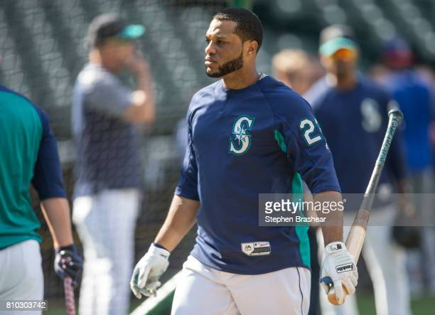 Robinson Cano of the Seattle Mariners leaves the batting cage during batting practice before a game against the Kansas City Royals at Safeco Field on...