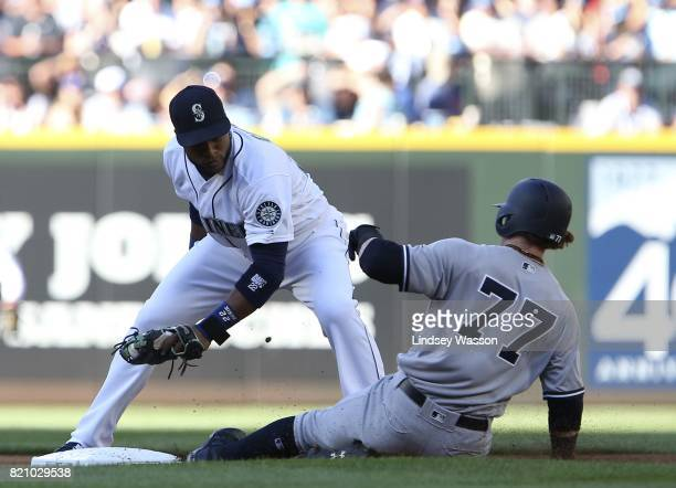 Robinson Cano of the Seattle Mariners tags out Clint Frazier of the New York Yankees at second base in the first inning at Safeco Field on July 22...
