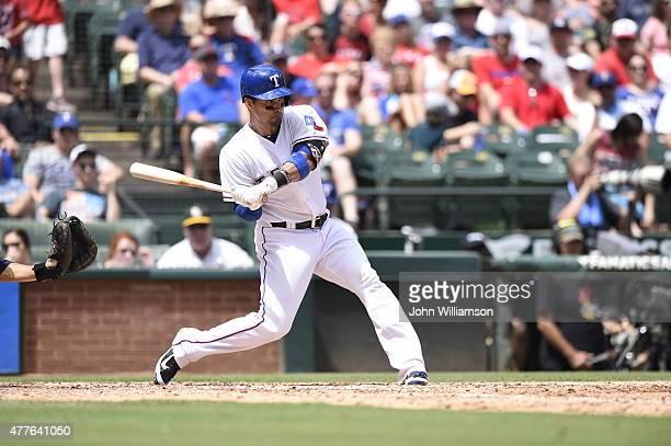 Robinson Chirinos of the Texas Rangers bats against the Minnesota Twins at Globe Life Park on June 14 2015 in Arlington Texas The Minnesota Twins...
