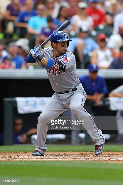 Robinson Chirinos of the Texas Rangers bats during Interleague play at Coors Field on July 22 2015 in Denver Colorado