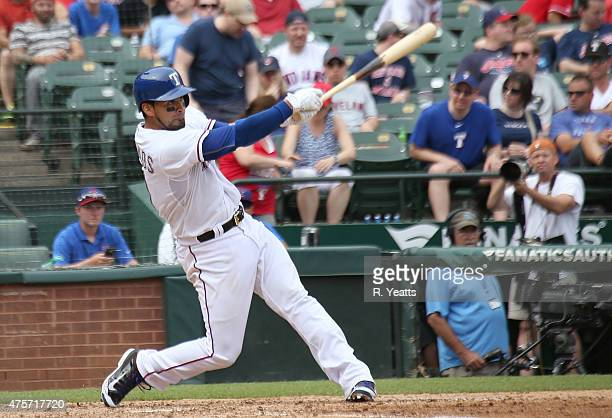 Robinson Chirinos of the Texas Rangers hits in the seventh inning against the Cleveland Indians at Globe Life Park in Arlington on May 17 2015 in...