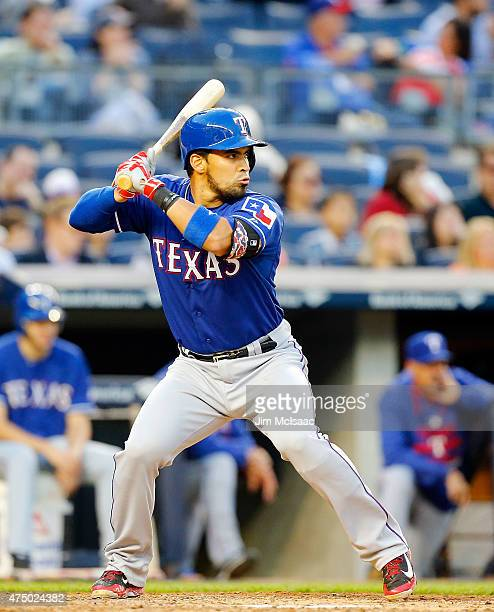 Robinson Chirinos of the Texas Rangers in action against the New York Yankees at Yankee Stadium on May 22 2015 in the Bronx borough of New York City...