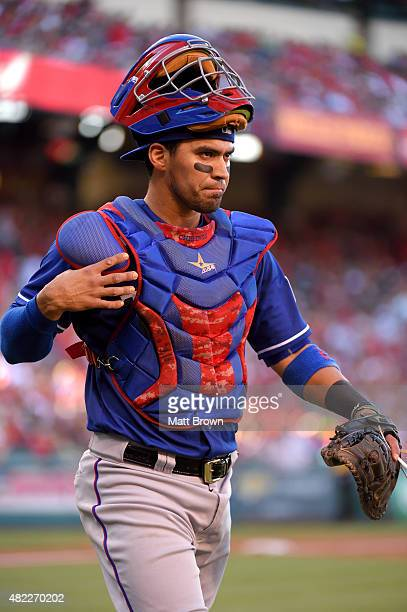 Robinson Chirinos of the Texas Rangers is shown during the game against the Los Angeles Angels of Anaheim at Angel Stadium of Anaheim on July 25 2015...