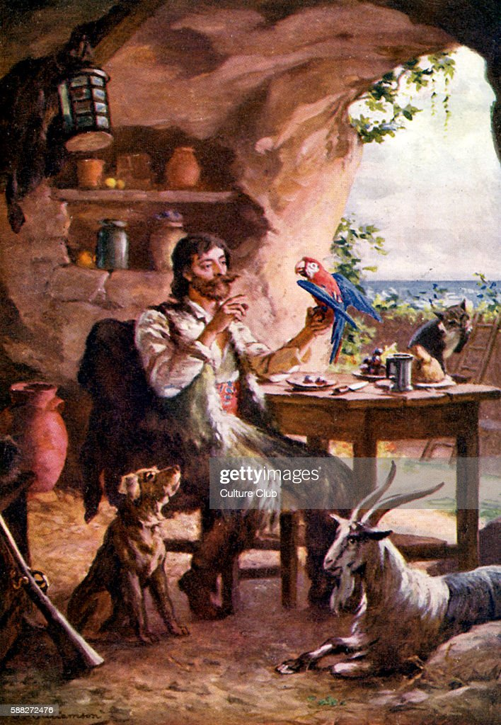 robinson crusoe novel by daniel defoe pictures getty images robinson crusoe novel by daniel defoe illustration of robinson crusoe parrot cat