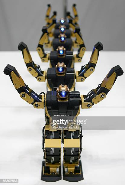 'RobonovaI' of HiTEC freely moves its arms and legs during 2005 International Robot Exhibition on November 30 2005 in Tokyo Japan RobonovaI can sit...