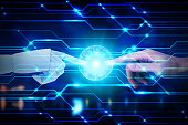 Robot and human hands touching on technology background, Artificial Intelligence Technology Concept