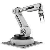 3d rendering robot arm on white background