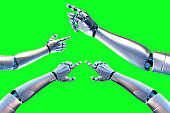 robot arm on a green background