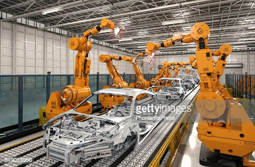 robot assembly line in car factory : Foto de stock