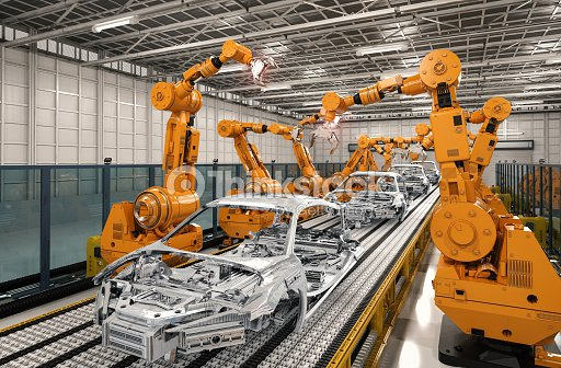 robot assembly line in car factory : Stock Photo