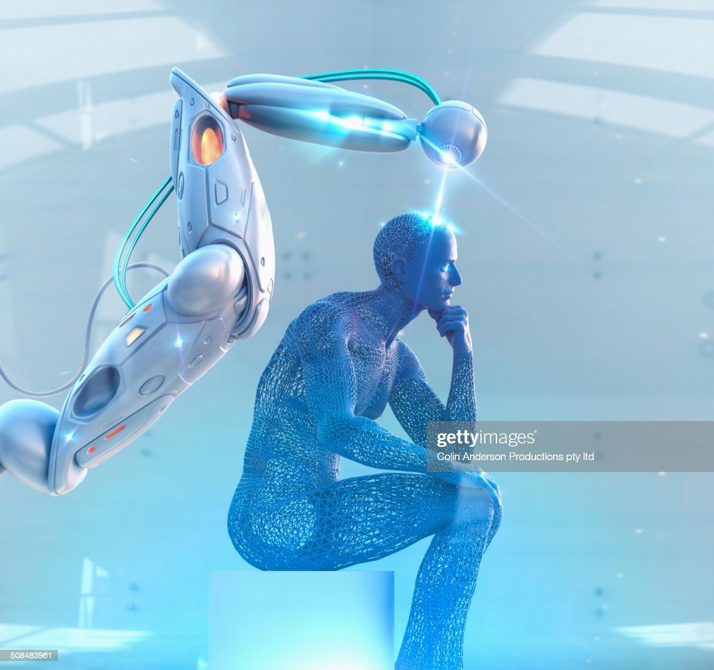 Robot creating human model in lab : Stock Photo